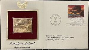 USA 1989 FIRST DAY COVER GOLD FOIL BRONTOSAURUS LITHOGRAPHED&ENGRAVED
