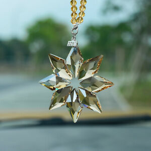 2021 Snow Snowflake Pendant Christmas Crystal Car Rearview Mirror Ornament Gifts