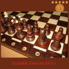 Jeu d'Echecs Chess en Bois Mallette 52 cm Fait Main Haute Qualité Cadeau Noel FR