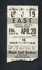 1979 Yes concert ticket stub Toronto Maple Leaf Gardens Roundabout Tormato Tour