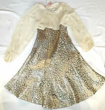 BNWT S TRAFFIC PEOPLE CREAM SILVER PEACOCK JACQUARD COCKTAIL PARTY DRESS