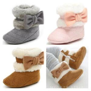 Newborn Baby Girl Bowknot Pram Shoes Toddler Anti slip PreWalker Trainers Boots