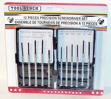 TOOL BENCH 11 Piece Precision Screwdriver Set With Plastic Case, Nip