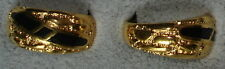 Men's 18KT Gold Overlay High Polish Finish Black Inlay Rings in Size 8 & 9