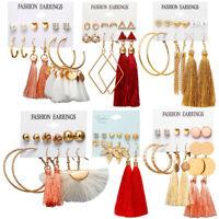 6Pairs Boho Tassel Crystal Pearl Earrings Set Women Ear Stud Dangle Jewelry Gift