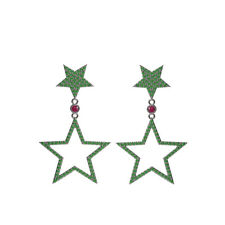 Natural Pave Chrome Diopside Ruby Star Earrings 925 Silver Handmade Jewelry