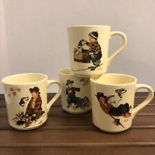 Vintage Norman Rockwell Mug Set of (4) A Boy And His Dog New in Box Japan