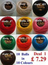 10 ANCHOR Pearl Cotton Crochet Embroidery Thread Balls. Choose Favorite Deals