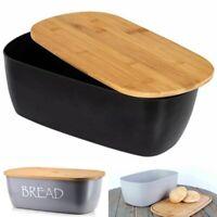 Bread Bin Black Chopping Board Bamboo Lid Storage Bin Wooden Bread Bin Grey