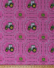 John Deere Bandana Tractor Tractors Logo Pink Cotton Fabric Print BTY D659.03