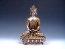 Vintage Tibetan Silver Plated Gold Gilt Large Tibetan Gautama Buddha #06291401
