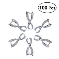 100x Home Metal Pinch Clip Bail Bead Pendant Connector Jewelry DIY Accessories