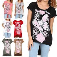 Ladies Womens Floral Short Sleeve Butterflies High Low Baggy T Shirt Dress Top