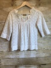 Urban Outfitters Staring At Stars Top White Crochet Eyelet Swing Blouse Sz S