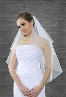 "New 2 Tier White Ivory Wedding Bridal Elbow Veil With Comb 32"" Beads & Pearls"