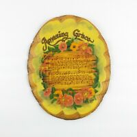 Vintage Wood Slice Wall Plaque Amazing Grace Flowers Poppy Song Music Sheet