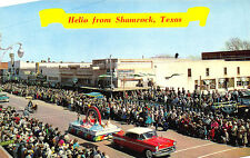 Shamrock TX 1957 Chevrolet St Patricks Day Parade Store Fronts Postcard