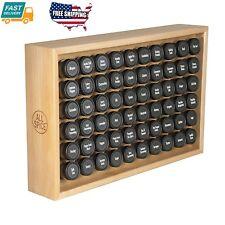Kitchen Wooden Spice Rack Includes 60 4oz Jars- Maple Storage Organizer Holder