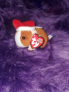 """2010 TY Holiday Baby Beanies GOODIES Guinea Pig 4"""" Christmas Ornament Plush nwt"""