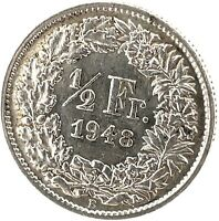 Switzerland 1/2 Franc 1948 B  Silver Coin KM#23.
