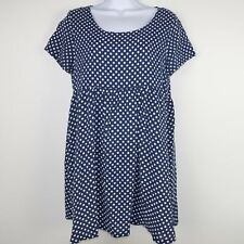 American Apparel Womens Babydoll Dress Short Sleeve Polka Dots Blue Size XS/S