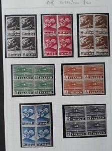 RARE 1948 Iceland set of 7 blocks of Volcano Hekla Eruption stamps MUH