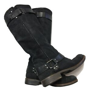 UGG AUSTRALIA Dree Boot Women US 8 Black Suede Leather Harness Motorcycle Riding