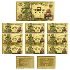 10pcs One Myrillion Dollars 24k Gold Foil Gold Banknote Zimbabwe Note Christmas