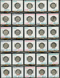 Estate Collection of Newfoundland Five Cents Silver Coins - Lot of 30 NICE COINS