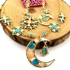 Sets Hot Betsey Johnson Enamel Fashion Sun Moon Crystal Earring and Necklace