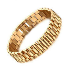 Men Gold Plating Stainless Steel Bracelet Birthday Friendship Chain Bangle 22cm