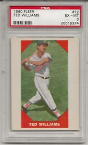 1960 FLEER #72 TED WILLIAMS, PSA 6 EX-MT, HOF,  BOSTON RED SOX, L@@K !