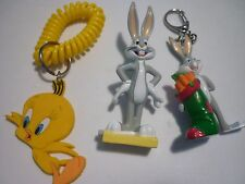 BUGS BUNNY AND TWEETY  KEY CHAINS  LOT OF  2 AND BUGS BUNNY FIGURINE TOY  !!!!