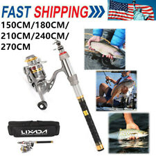 1.8/2.1/2.4/2.7M Telescopic Fishing Rod Spinning Reel Combo Full Kit Pole USA