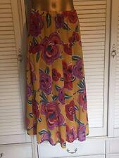 Striking Light Weight Skirt Yellow Large Bold Flowers Red, Orange, Mauve Sz 22