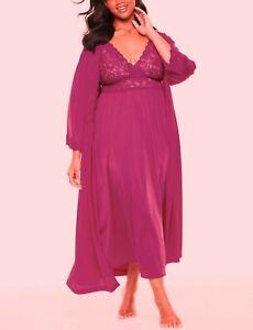 Only Necessities Plus Size Berry Long Peignoir & Robe Set Size 2X(26/28)