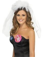 HEN NIGHT VEIL ON HEADBAND LADIES FANCY DRESS HEN PARTY ACCESSORY