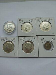 1963 Franklin Half Dollar BU+ 1966-1967-1968-1969 Halves +1960 AU Dime Silver 6