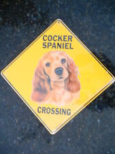 Sign COCKER SPANIEL ALUMINUM CROSSING picture dogs decor large signs