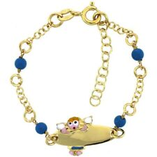 Sterling Silver Rolo Baby ID Bracelet, Yellow Gold Finish w/Beads & Angel Charm