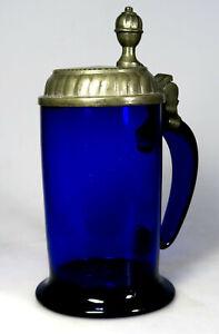 Seltener WALZENKRUG, blaues Glas, Ende 18. Jh., Zinndeckel - #Slg.K01