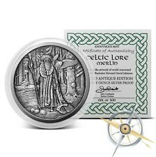 Celtic Lore Series - Merlin 5 oz .999 Silver Antiqued Finish Round USA Made Coin