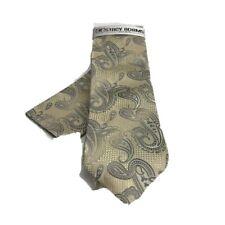 Stacy Adams Men's Tie & Hanky Set Beige Charcoal Hand Made 100% Microfiber
