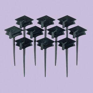 10 x Graduation Black Mortar Board Food & Drink Picks Cupcake Decoration Toppers