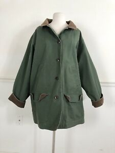 L L Bean Womens 3 XL Green cotton Barn Coat Utility Jacket Flannel Lined