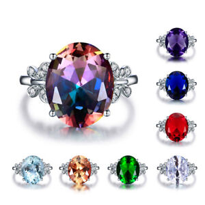 925 Silver 10*14MM Oval Cut Gemstone Birthstone Butterfly Ring Jewelry Size 6-10