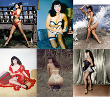 BETTIE PAGE COLOUR SET 10 PHOTOS 7 X 5 HOT NUDE STOCKINGS PIN UP LINGERIE