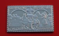 Modern 14.1g Sterling Silver Stamp Ingot France French 1938 Red Cross 15c + 5c