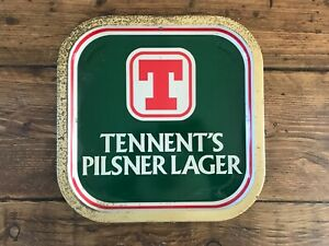 Tennent's Pilsner Metal Beer Tray Vintage Pub Shed Man Cave Pub Shed Breweriana