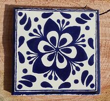 """10~MEXICAN TALAVERA POTTERY 4"""" tile Hand Painted Blue COBALT BLUE & WHITE"""